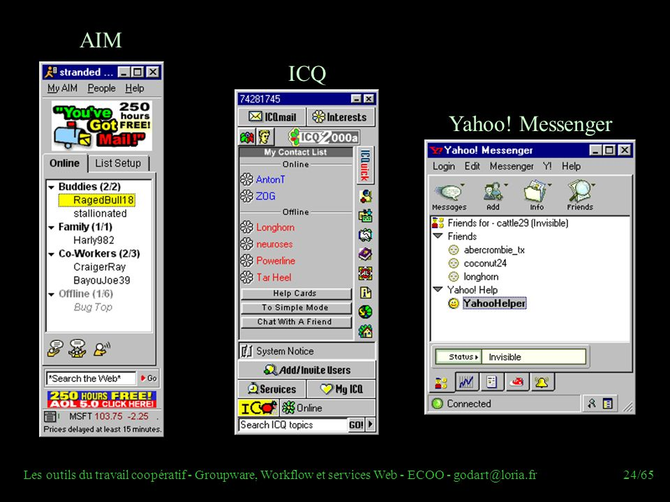 AIM ICQ Yahoo! Messenger