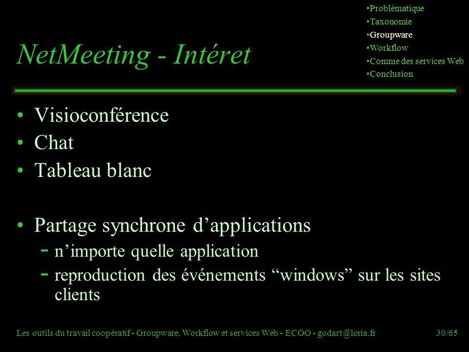 NetMeeting - Intéret Visioconférence Chat Tableau blanc