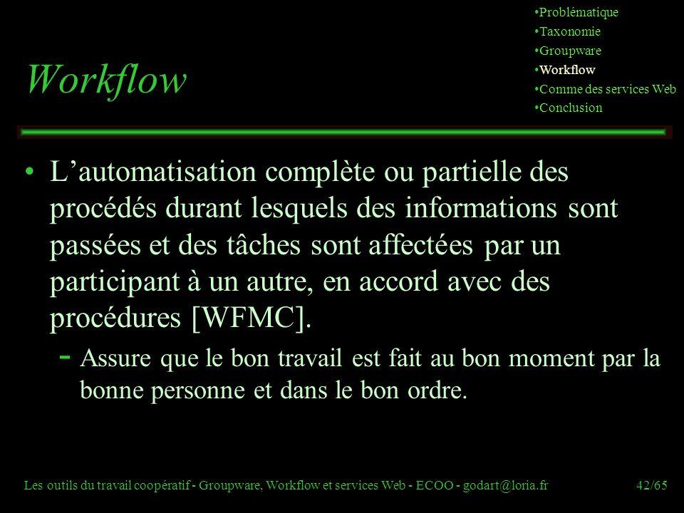 Problématique Taxonomie. Groupware. Workflow. Comme des services Web. Conclusion. Workflow.