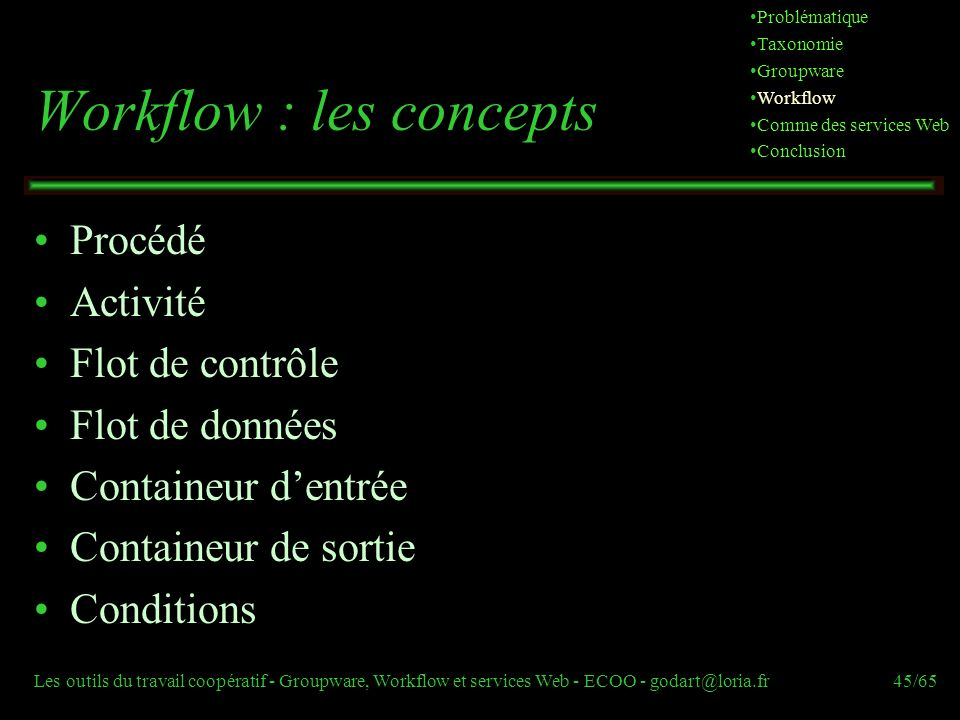 Workflow : les concepts