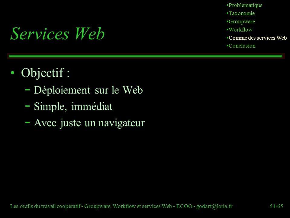 Services Web Objectif : Déploiement sur le Web Simple, immédiat