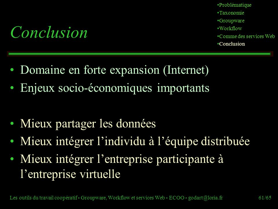 Conclusion Domaine en forte expansion (Internet)