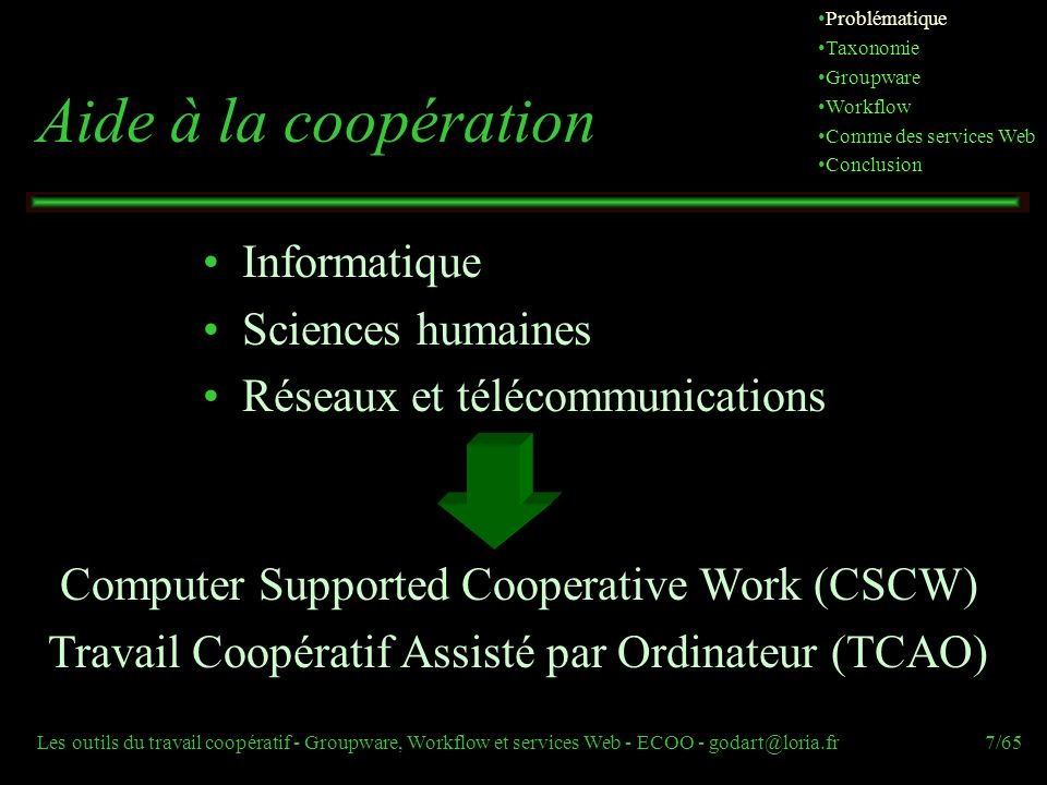 Aide à la coopération Informatique Sciences humaines