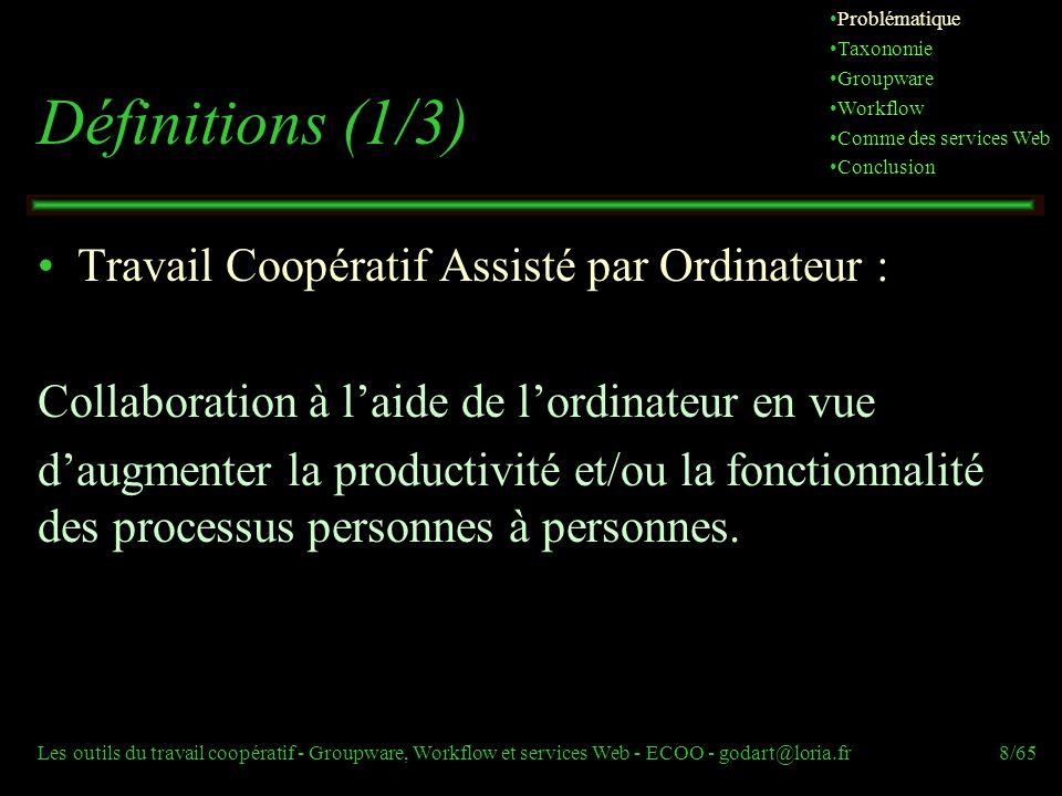 Définitions (1/3) Travail Coopératif Assisté par Ordinateur :