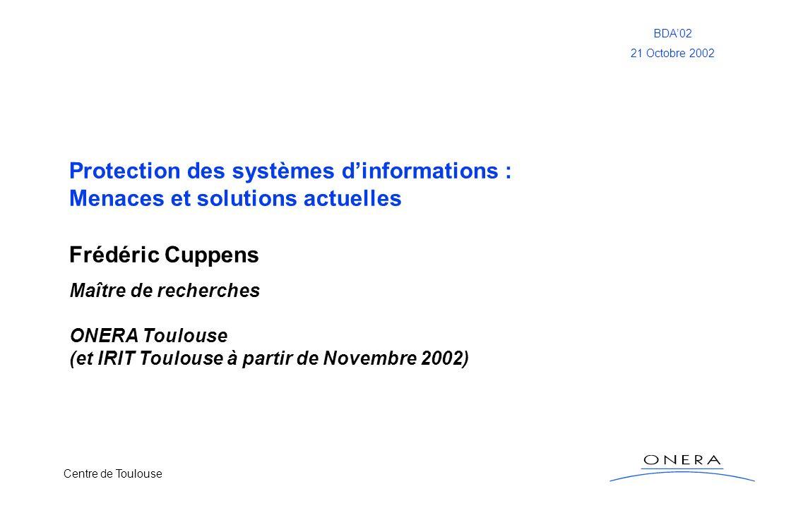 Frédéric Cuppens Protection des systèmes d'informations :