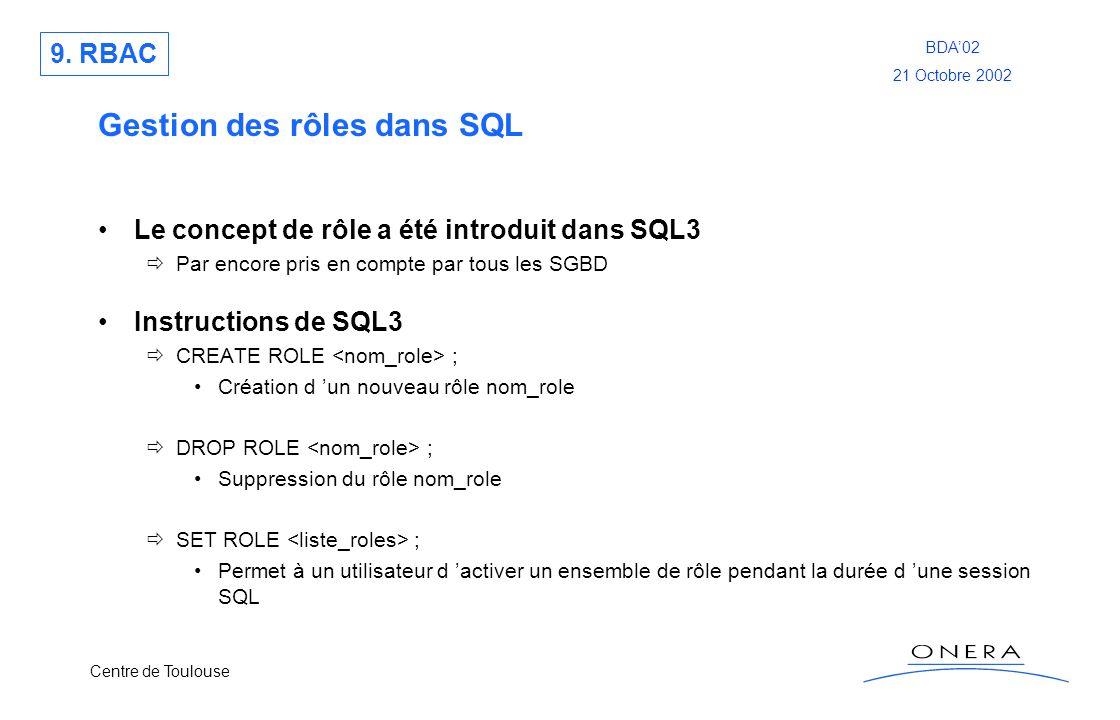 Gestion des rôles dans SQL