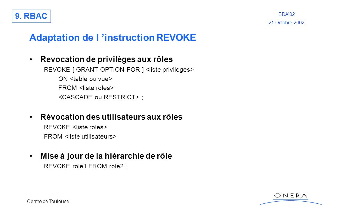 Adaptation de l 'instruction REVOKE