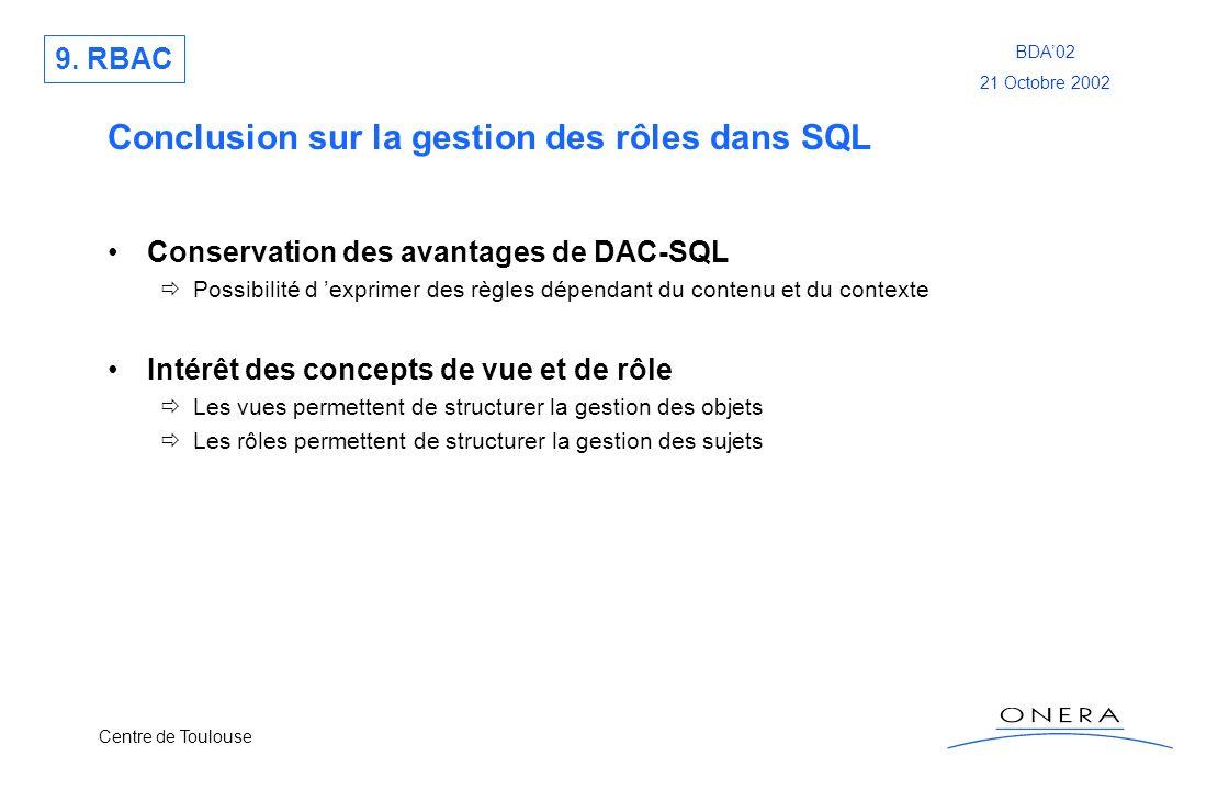 Conclusion sur la gestion des rôles dans SQL
