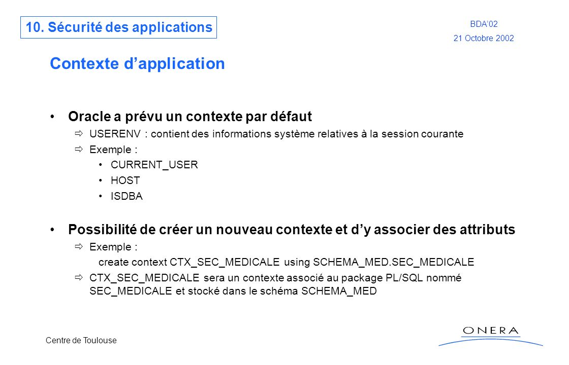 Contexte d'application