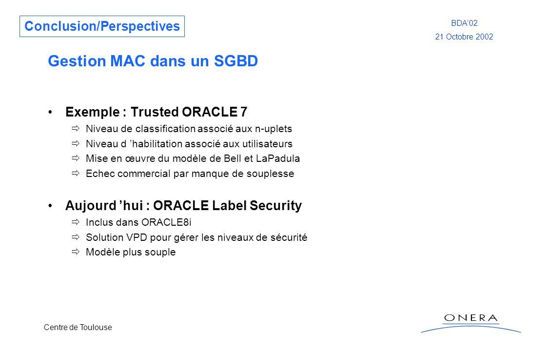 Gestion MAC dans un SGBD