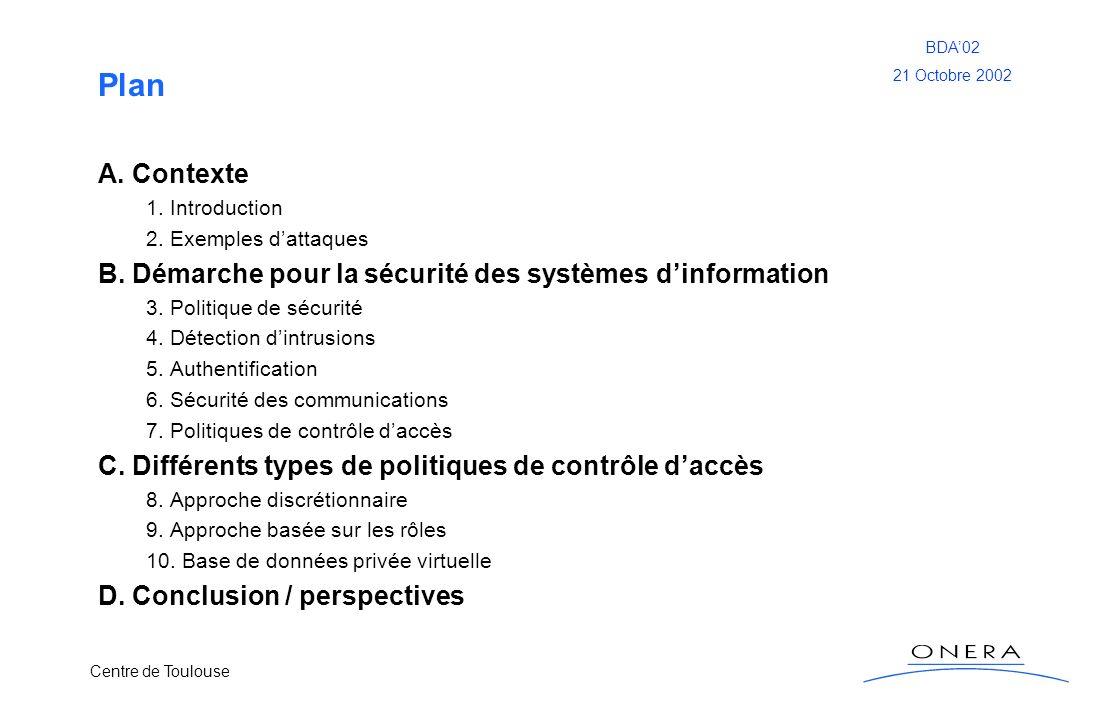 Plan A. Contexte. 1. Introduction. 2. Exemples d'attaques. B. Démarche pour la sécurité des systèmes d'information.