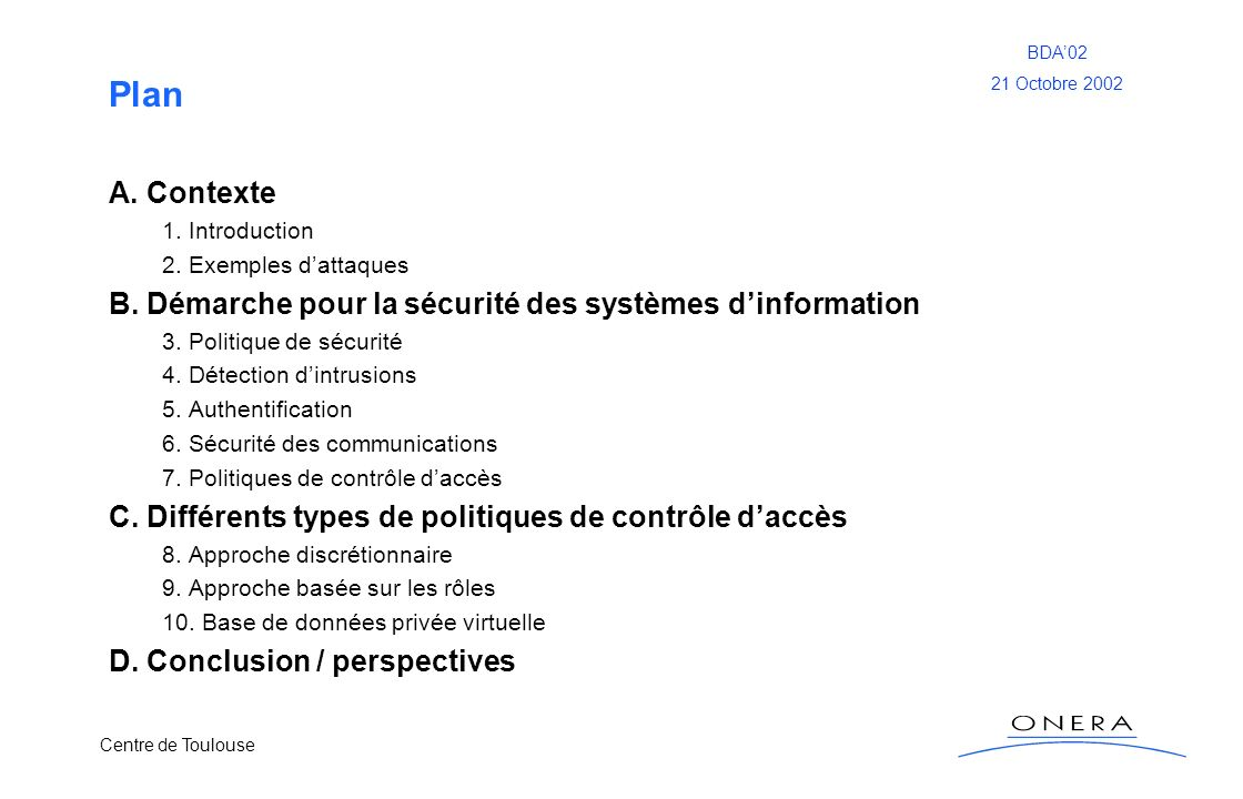 PlanA. Contexte. 1. Introduction. 2. Exemples d'attaques. B. Démarche pour la sécurité des systèmes d'information.