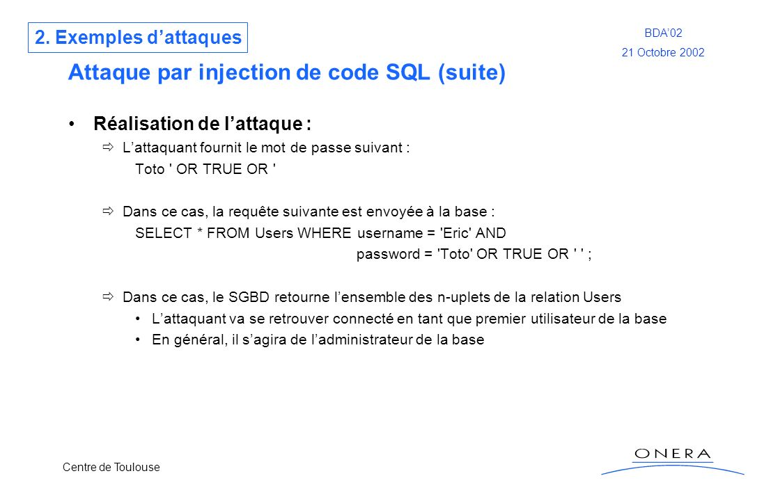 Attaque par injection de code SQL (suite)