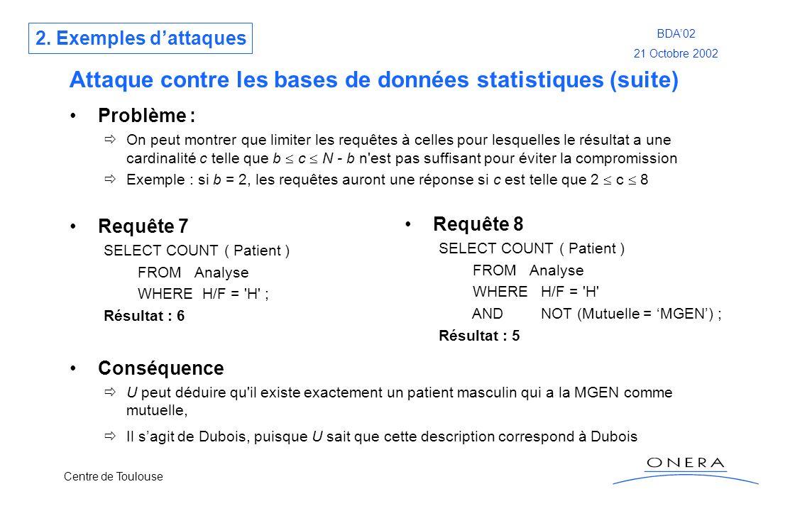 Attaque contre les bases de données statistiques (suite)