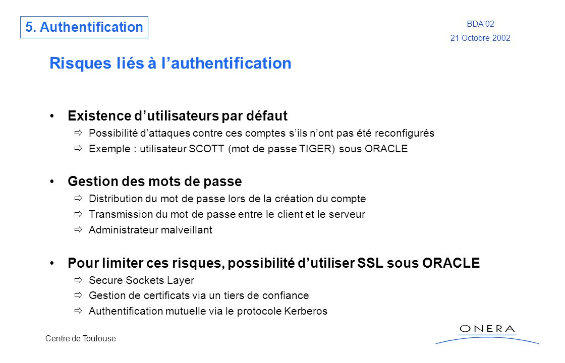 Risques liés à l'authentification