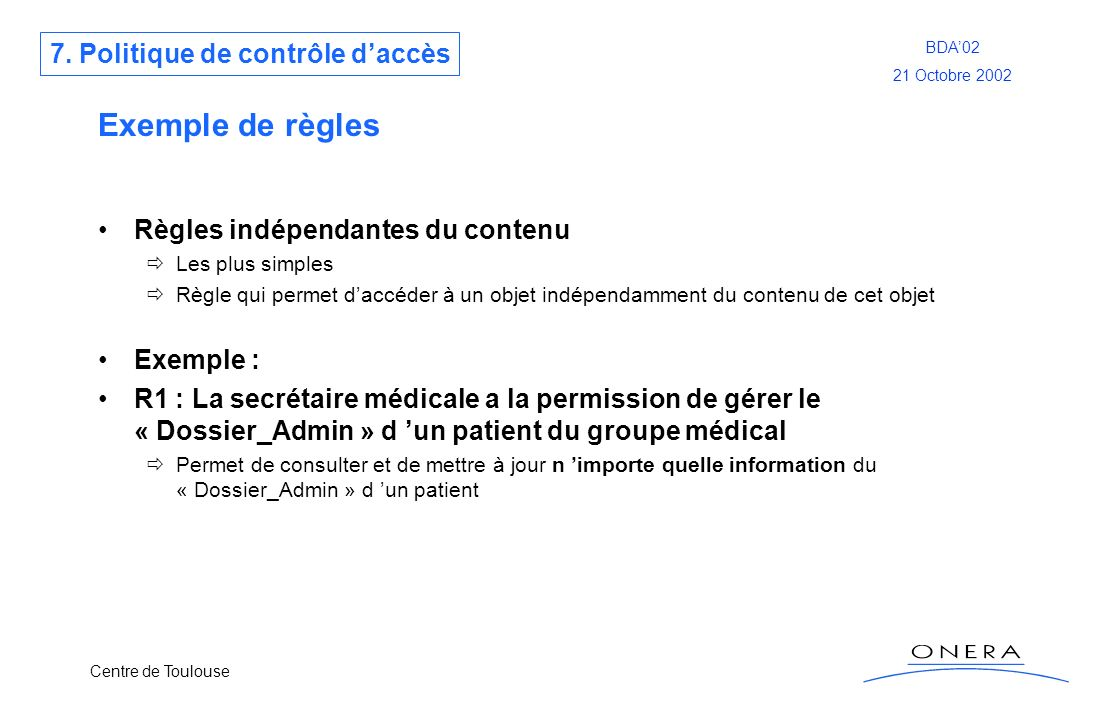 Exemple de règles 7. Politique de contrôle d'accès