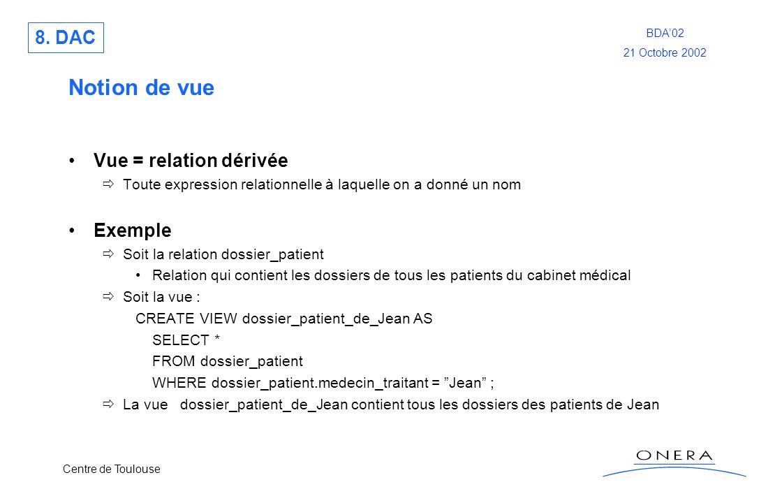 Notion de vue 8. DAC Vue = relation dérivée Exemple