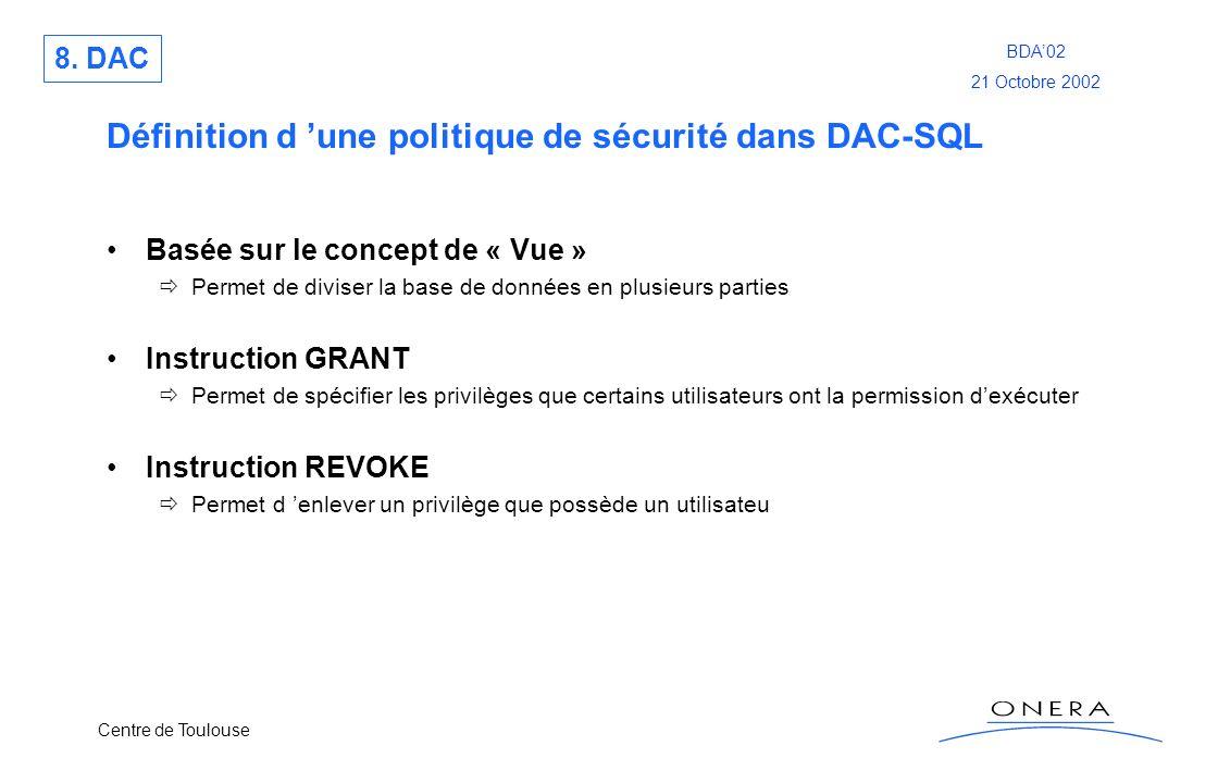 Définition d 'une politique de sécurité dans DAC-SQL