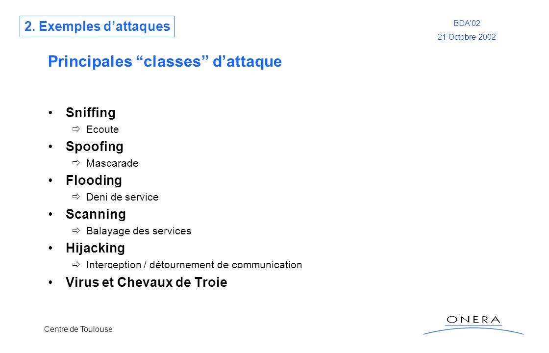 Principales classes d'attaque