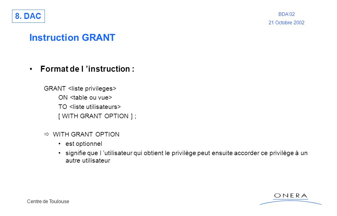 Instruction GRANT 8. DAC Format de l 'instruction :