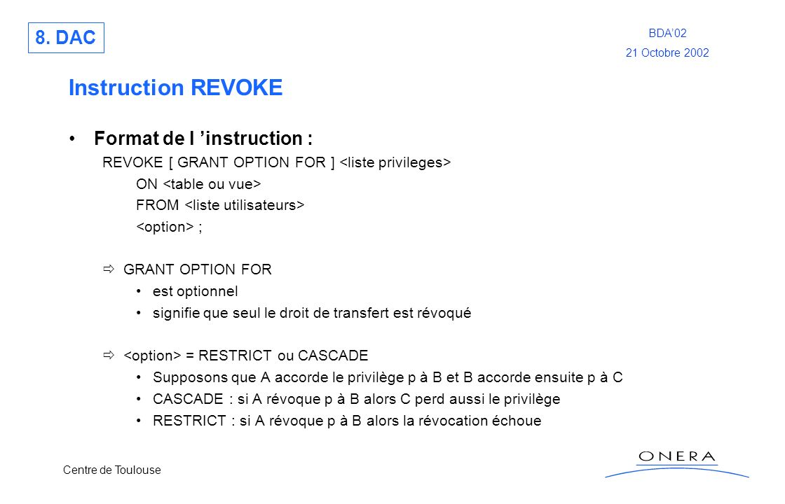 Instruction REVOKE 8. DAC Format de l 'instruction :