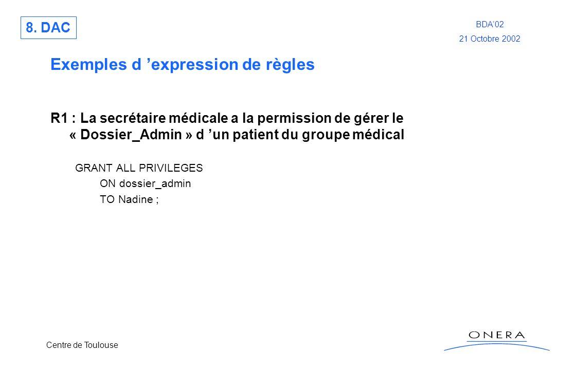 Exemples d 'expression de règles
