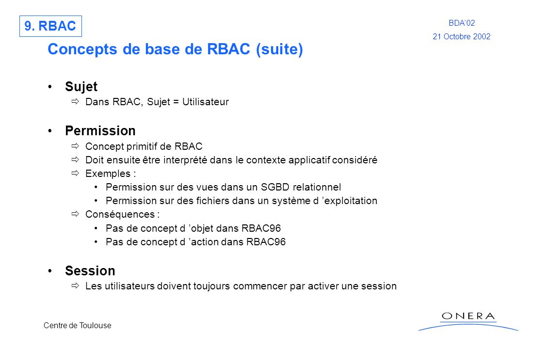 Concepts de base de RBAC (suite)
