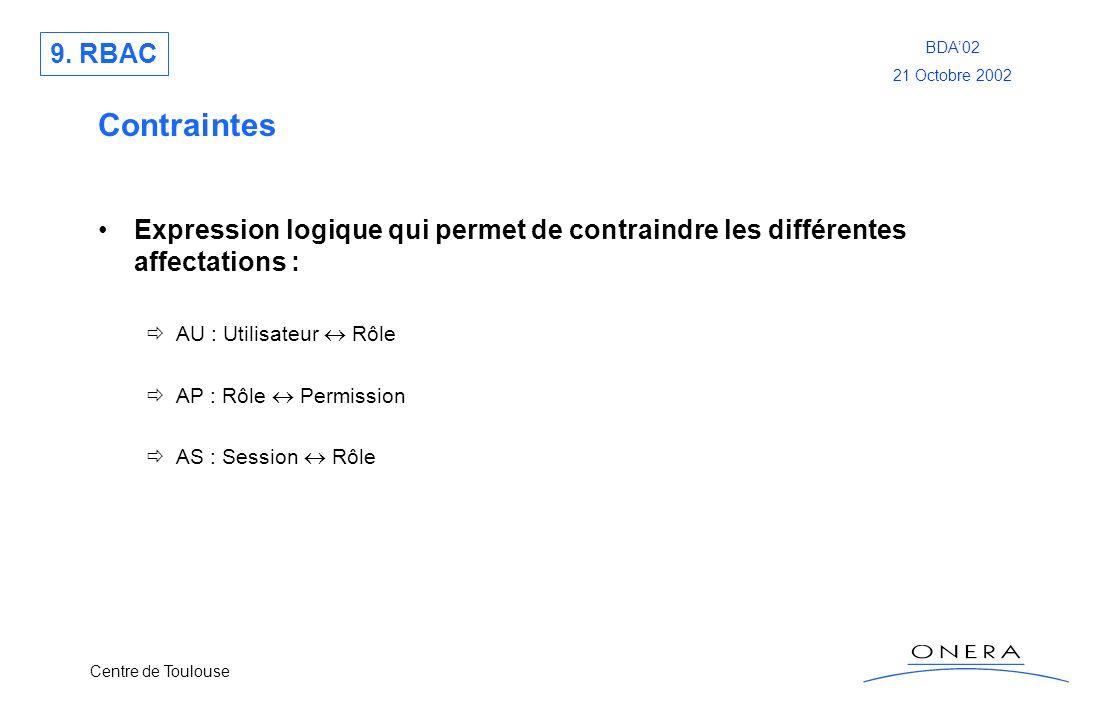 9. RBAC Contraintes. Expression logique qui permet de contraindre les différentes affectations : AU : Utilisateur  Rôle.