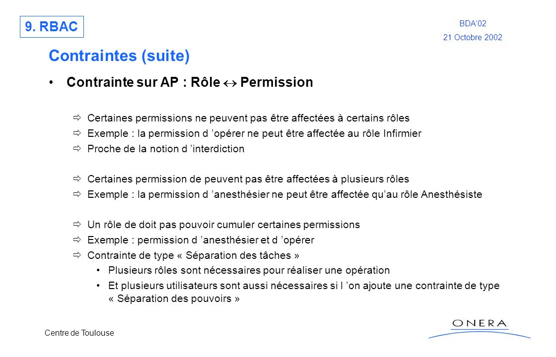 Contraintes (suite) 9. RBAC Contrainte sur AP : Rôle  Permission