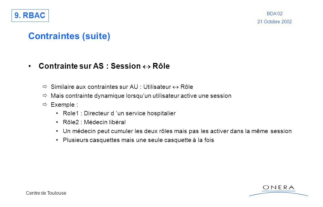 Contraintes (suite) 9. RBAC Contrainte sur AS : Session  Rôle