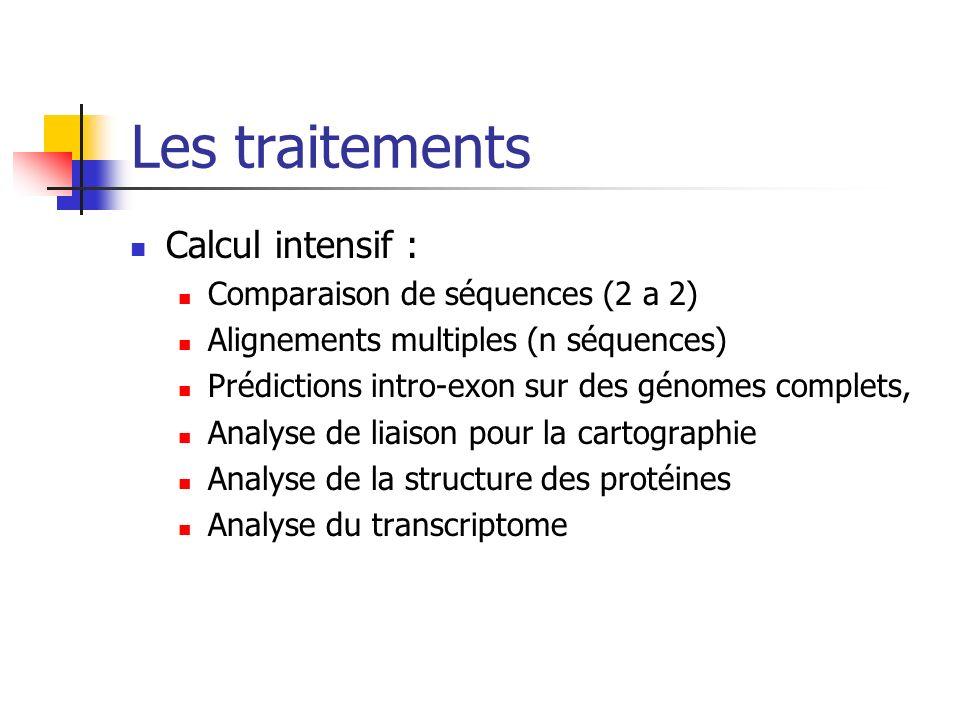Les traitements Calcul intensif : Comparaison de séquences (2 a 2)