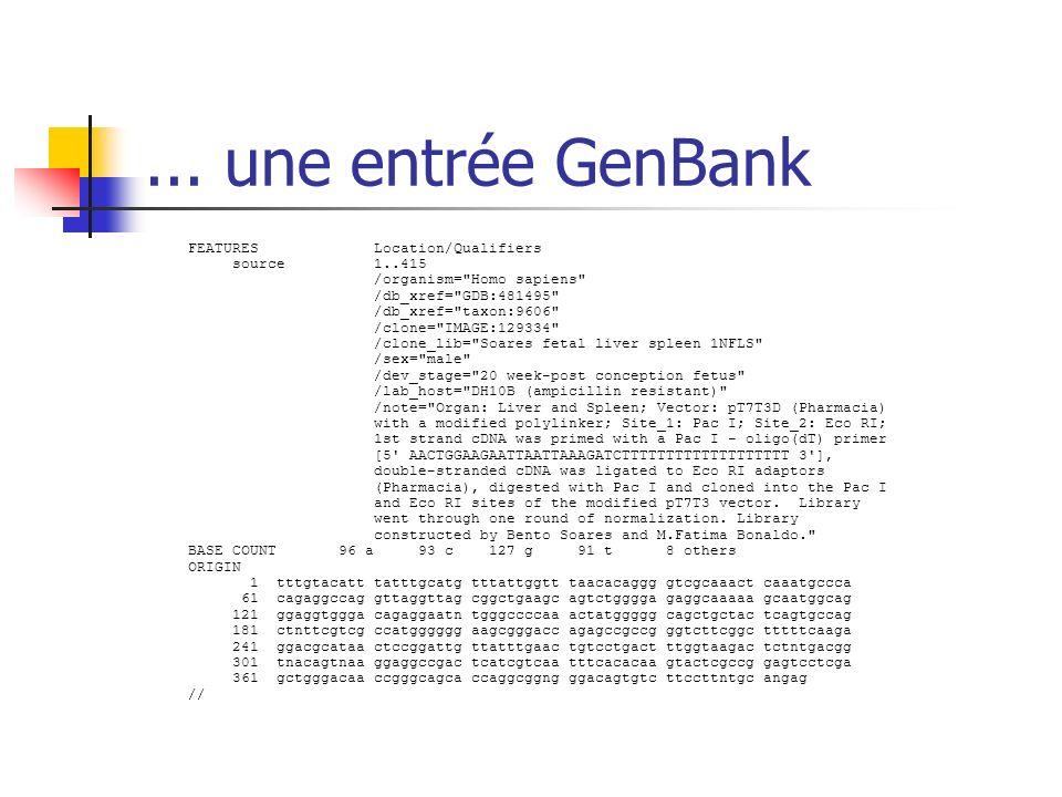 ... une entrée GenBank