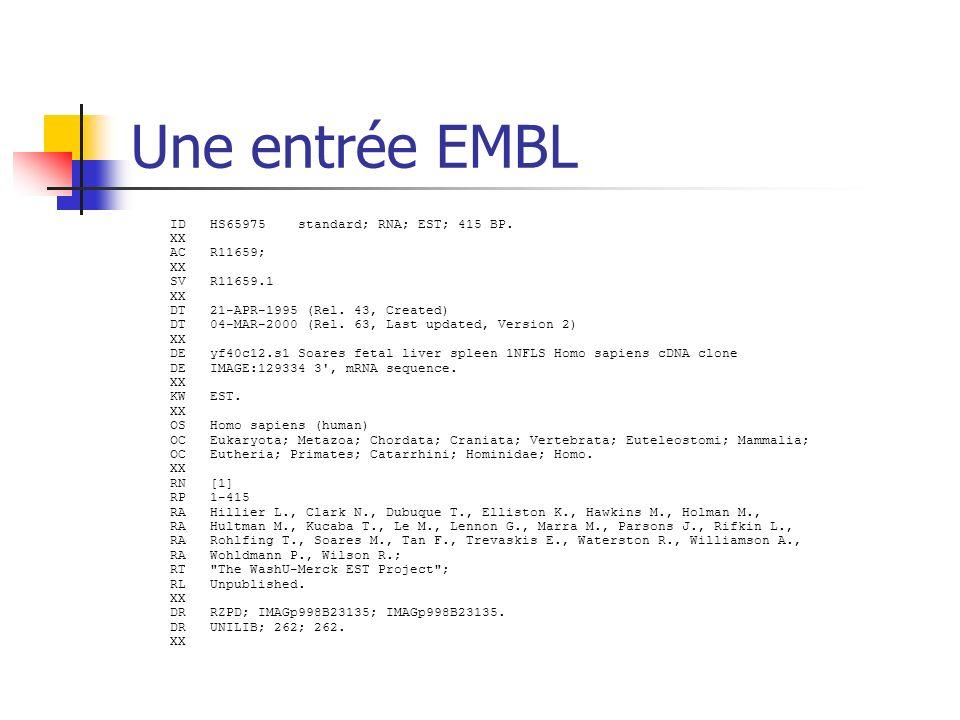 Une entrée EMBL