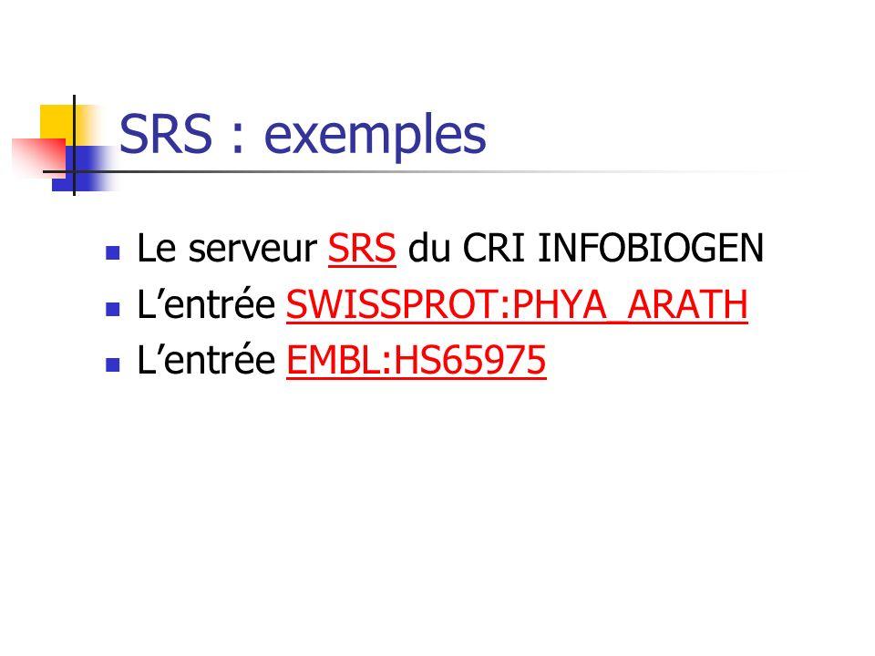 SRS : exemples Le serveur SRS du CRI INFOBIOGEN