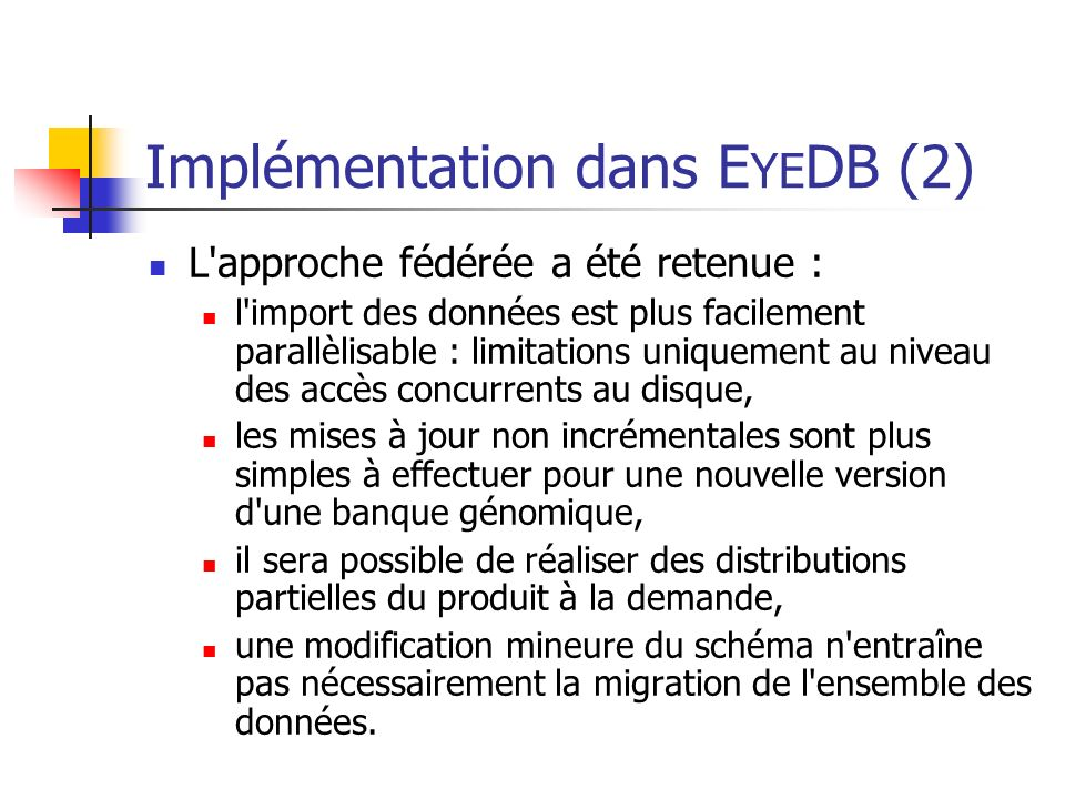 Implémentation dans EYEDB (2)