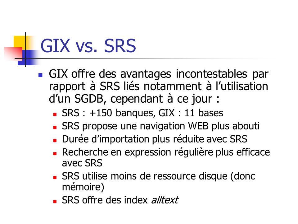 GIX vs. SRS GIX offre des avantages incontestables par rapport à SRS liés notamment à l'utilisation d'un SGDB, cependant à ce jour :