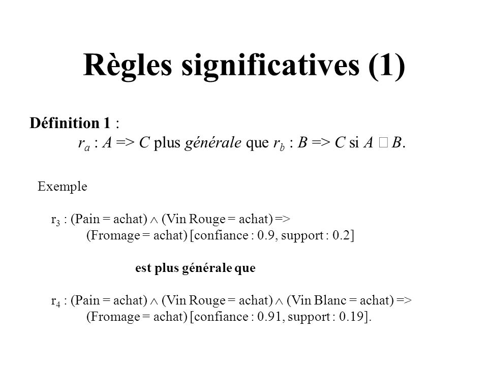 Règles significatives (1)