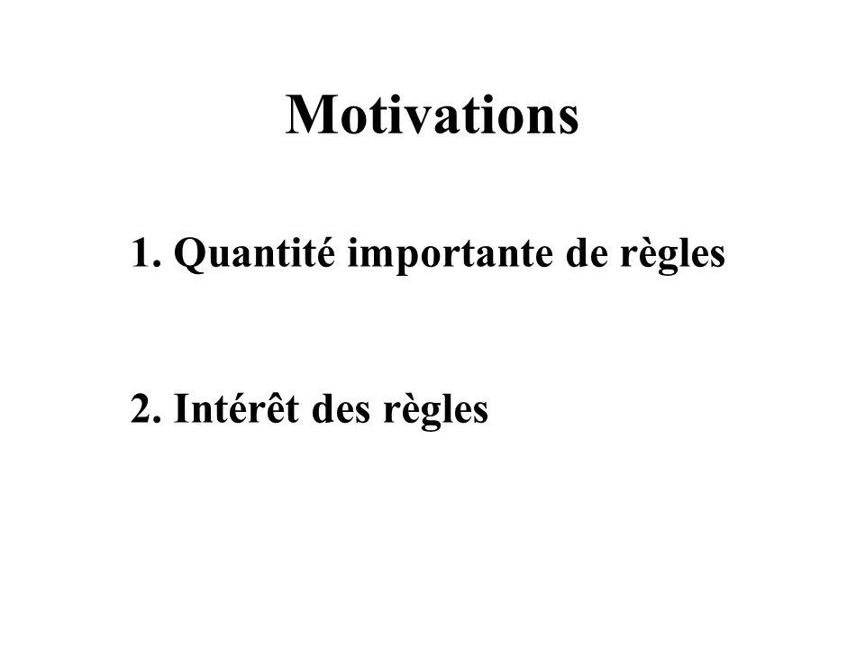 Motivations 1. Quantité importante de règles 2. Intérêt des règles