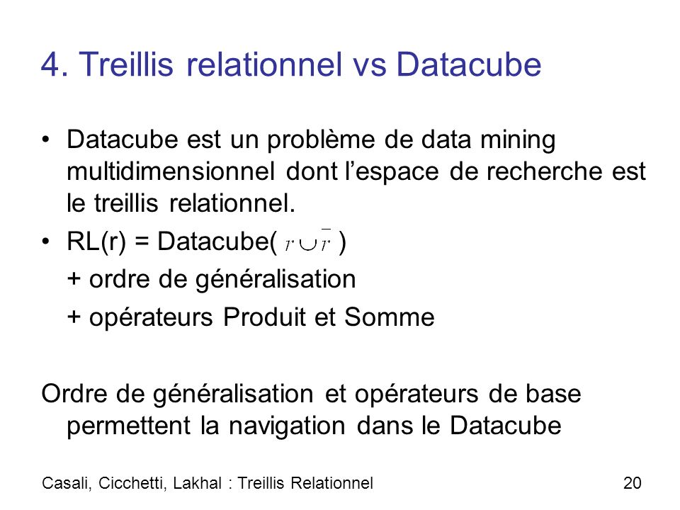 4. Treillis relationnel vs Datacube