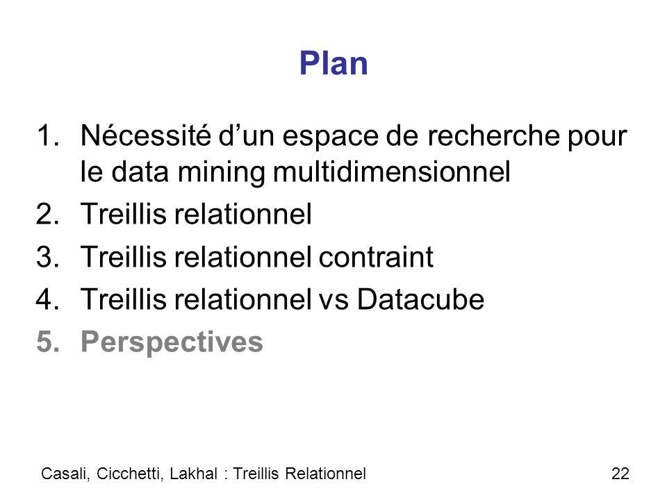 PlanNécessité d'un espace de recherche pour le data mining multidimensionnel. Treillis relationnel.