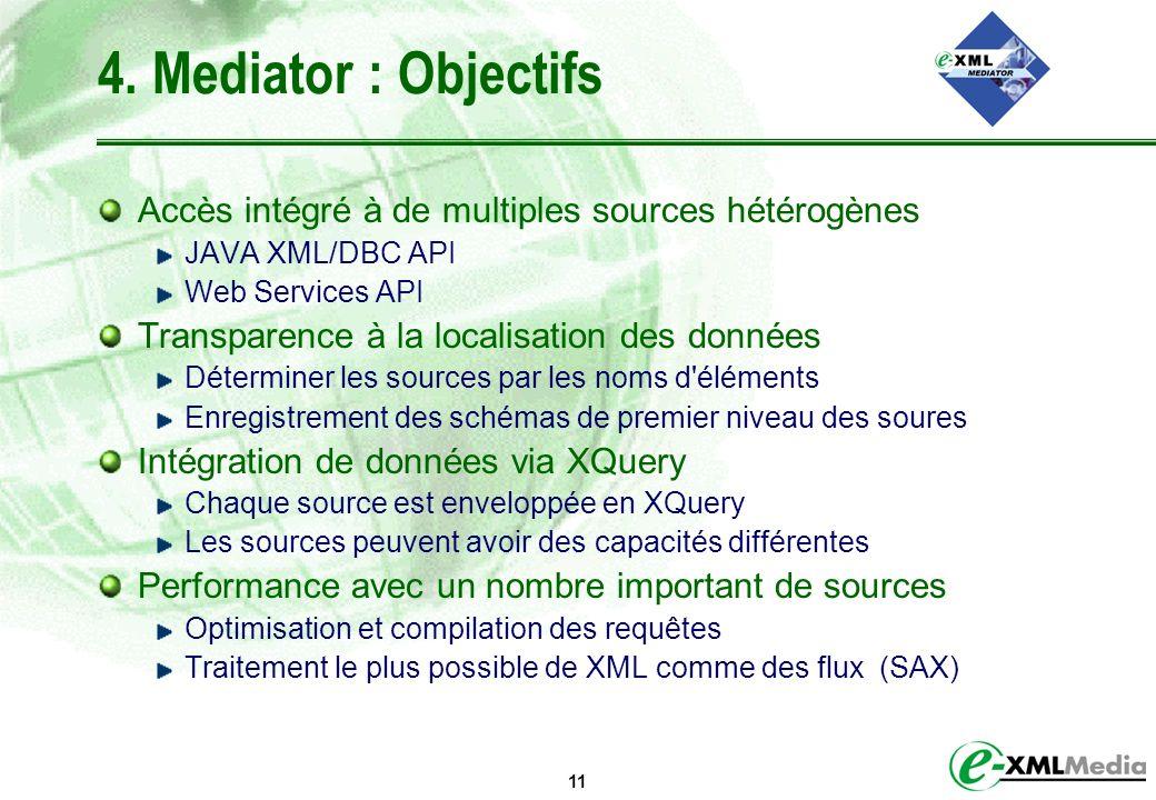 4. Mediator : Objectifs Accès intégré à de multiples sources hétérogènes. JAVA XML/DBC API. Web Services API.