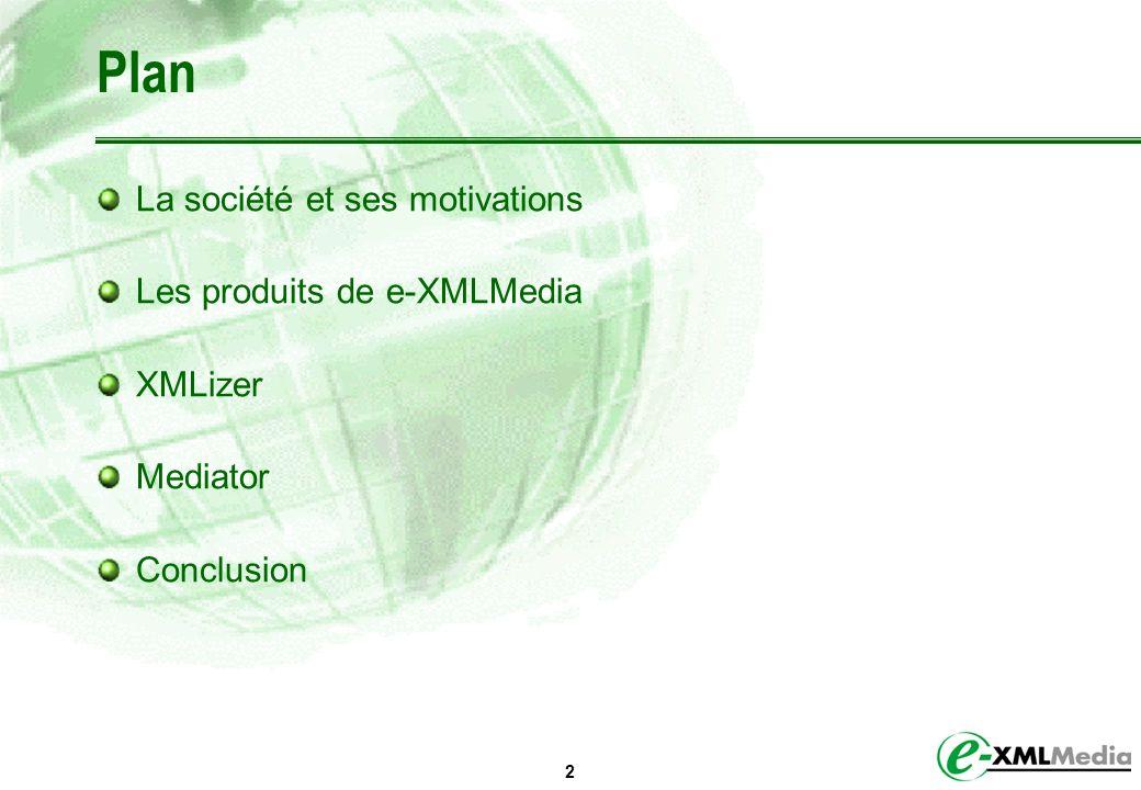 Plan La société et ses motivations Les produits de e-XMLMedia XMLizer