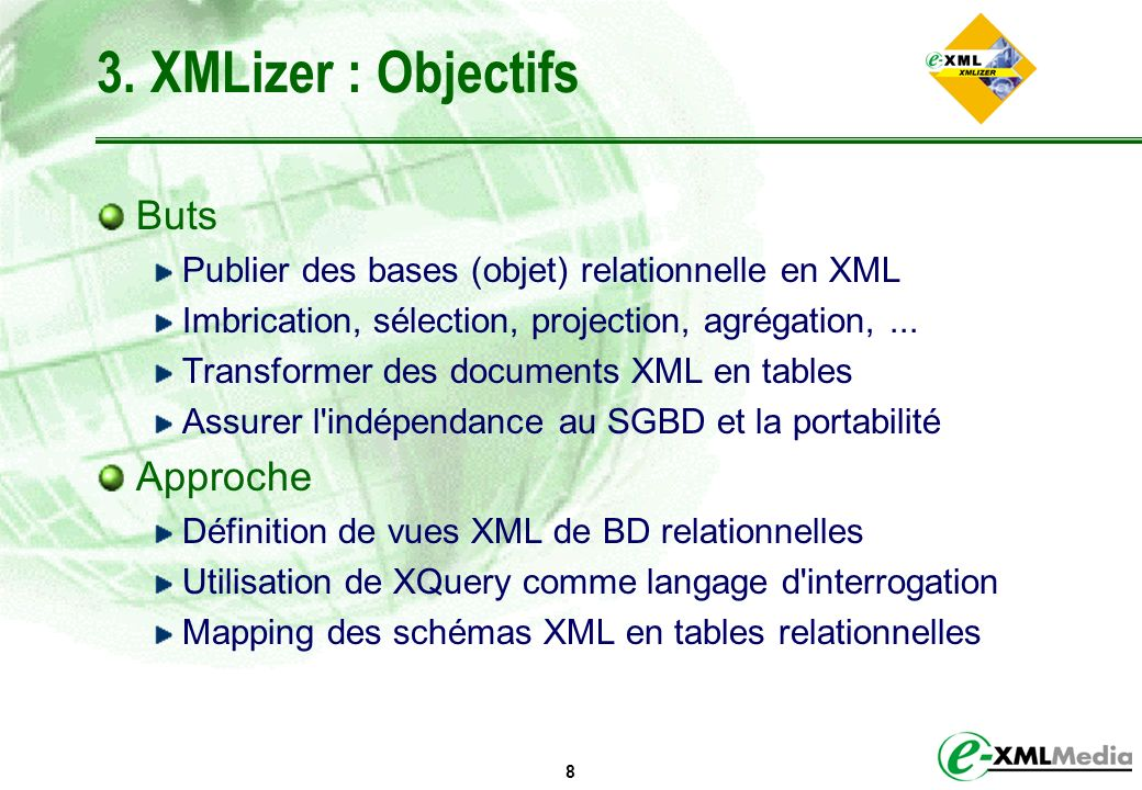3. XMLizer : Objectifs Buts Approche