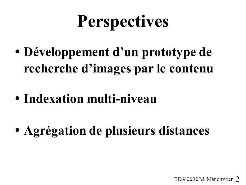 Perspectives Développement d'un prototype de recherche d'images par le contenu. Indexation multi-niveau.