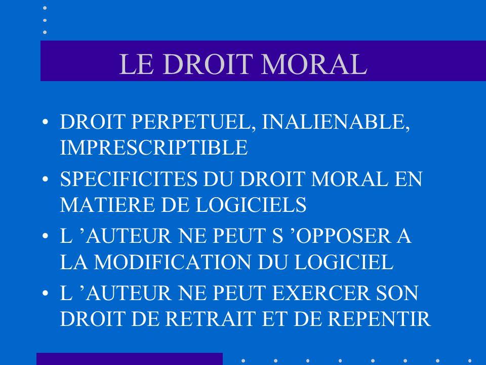 LE DROIT MORAL DROIT PERPETUEL, INALIENABLE, IMPRESCRIPTIBLE