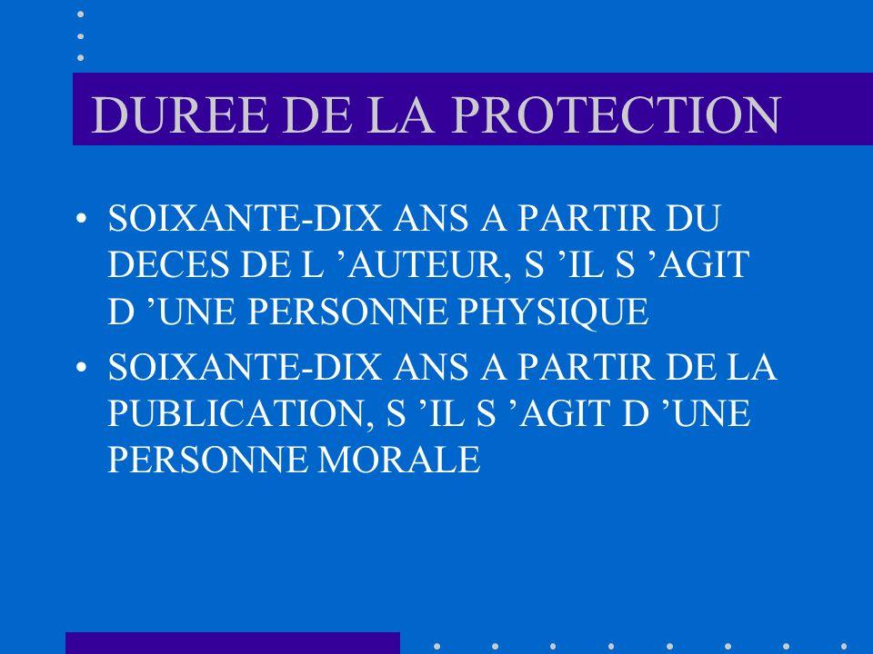 DUREE DE LA PROTECTION SOIXANTE-DIX ANS A PARTIR DU DECES DE L 'AUTEUR, S 'IL S 'AGIT D 'UNE PERSONNE PHYSIQUE.
