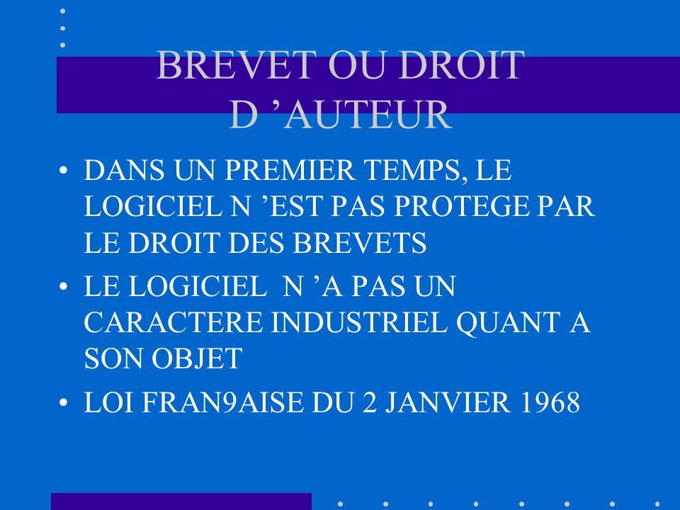 BREVET OU DROIT D 'AUTEUR