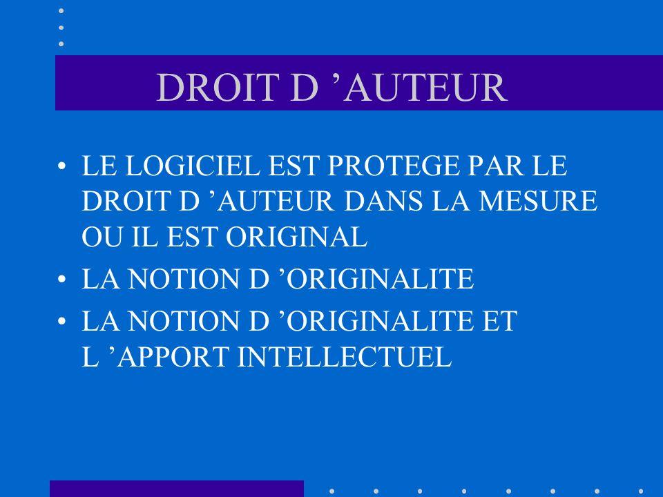 DROIT D 'AUTEUR LE LOGICIEL EST PROTEGE PAR LE DROIT D 'AUTEUR DANS LA MESURE OU IL EST ORIGINAL. LA NOTION D 'ORIGINALITE.