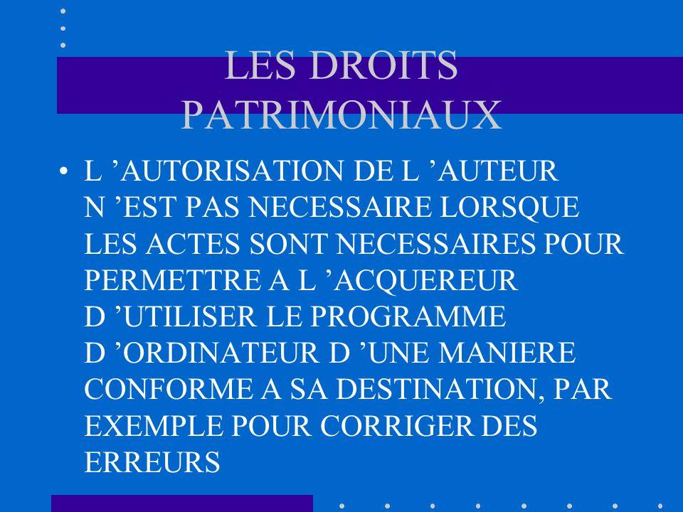 LES DROITS PATRIMONIAUX