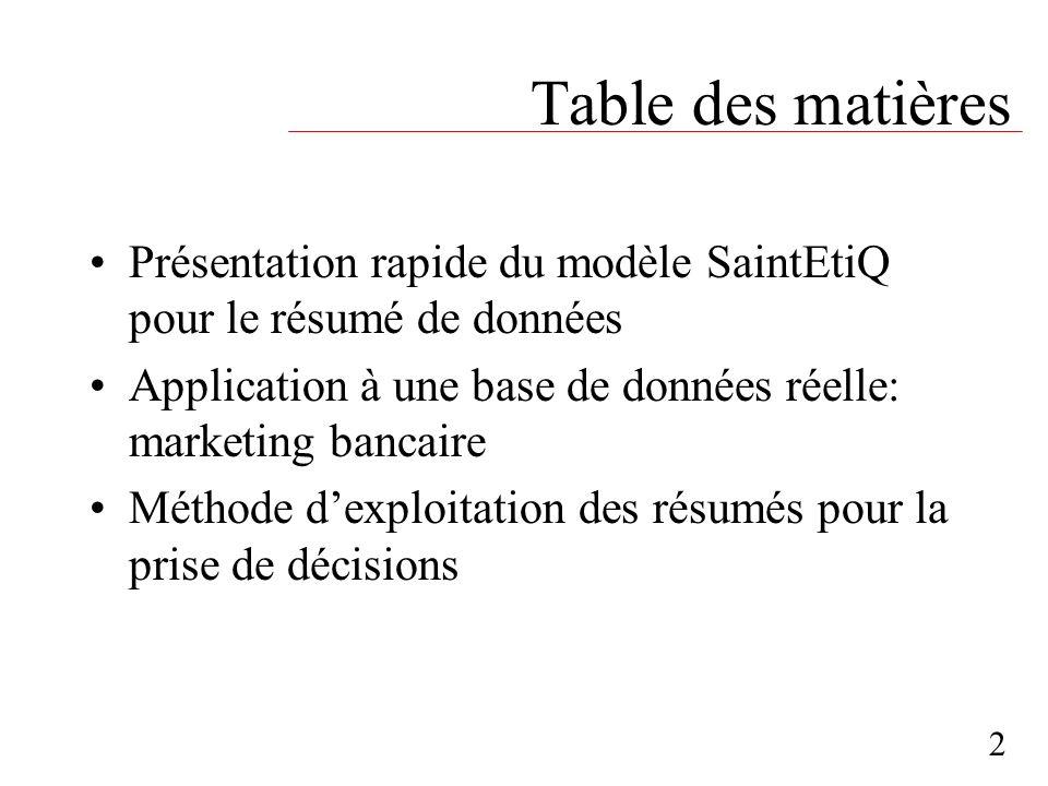 Table des matières Présentation rapide du modèle SaintEtiQ pour le résumé de données. Application à une base de données réelle: marketing bancaire.
